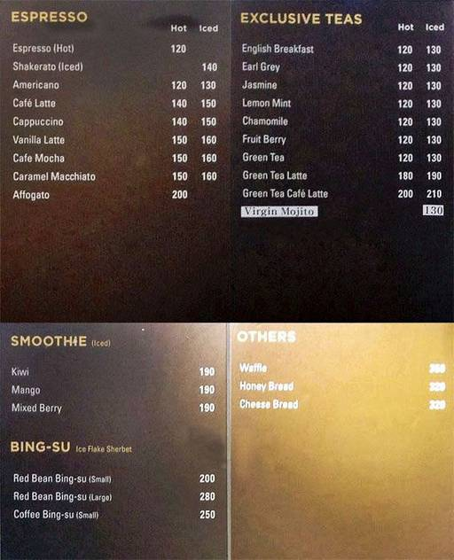Menu 23 - Sibang Bakery, Golf Course Road, Gurgaon