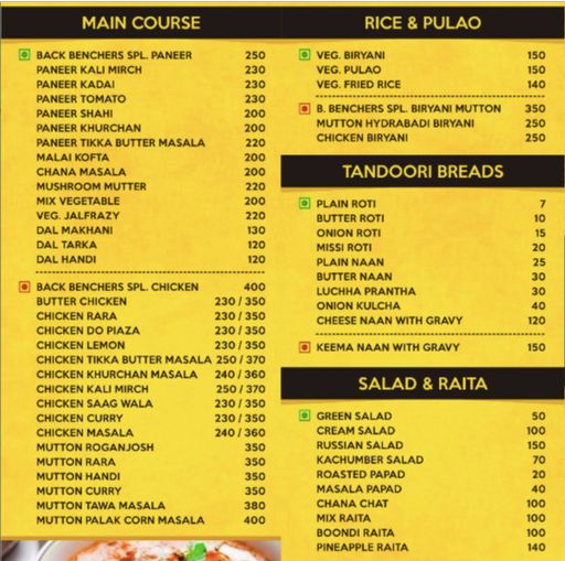 Menu 3 - Back Benchers, Sector 38, Gurgaon