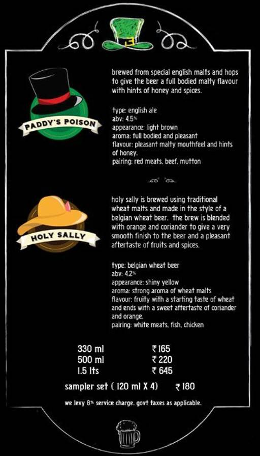 Menu 1 - Murphy's Brewhouse - The Paul, Domlur, Bangalore