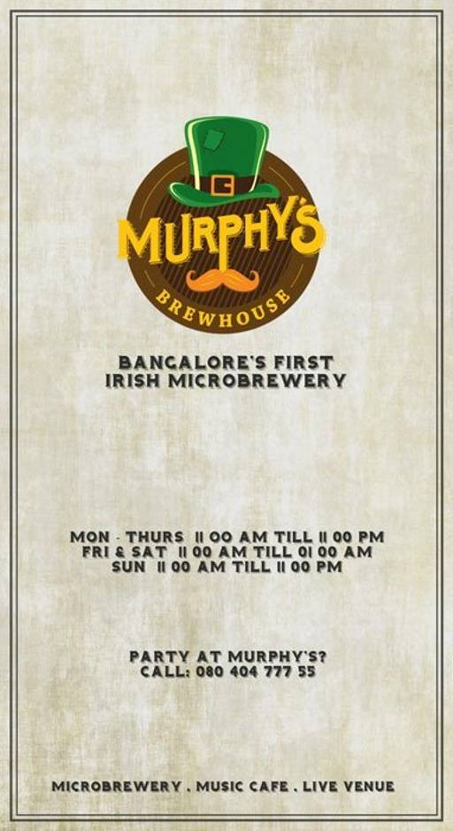 Menu 19 - Murphy's Brewhouse - The Paul, Domlur, Bangalore