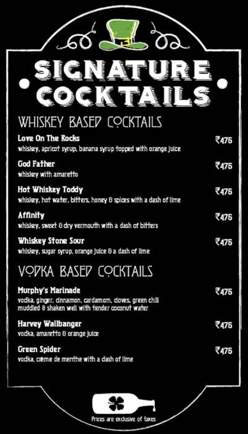Menu 20 - Murphy's Brewhouse - The Paul, Domlur, Bangalore