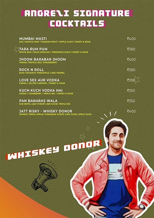 Menu 12 - Angrezi - Bollywood Bar & Kitchen, Church Street, Bangalore
