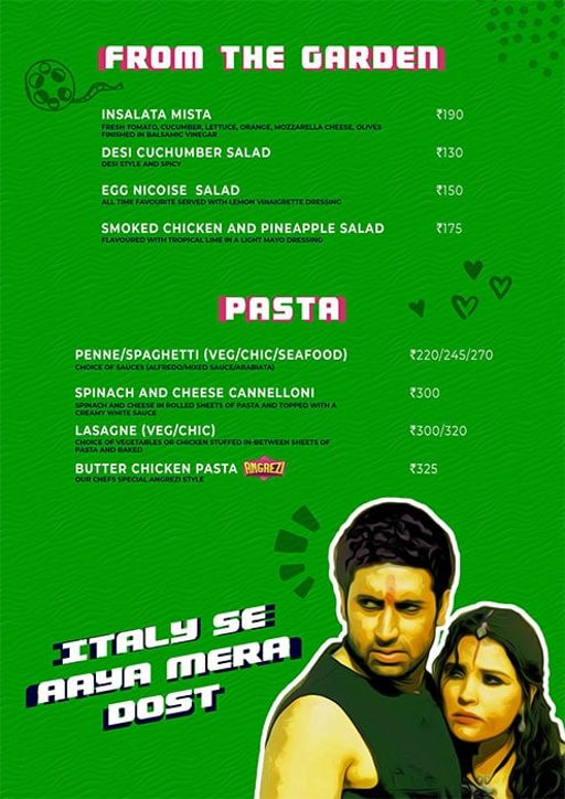 Menu 4 - Angrezi - Bollywood Bar & Kitchen, Church Street, Bangalore