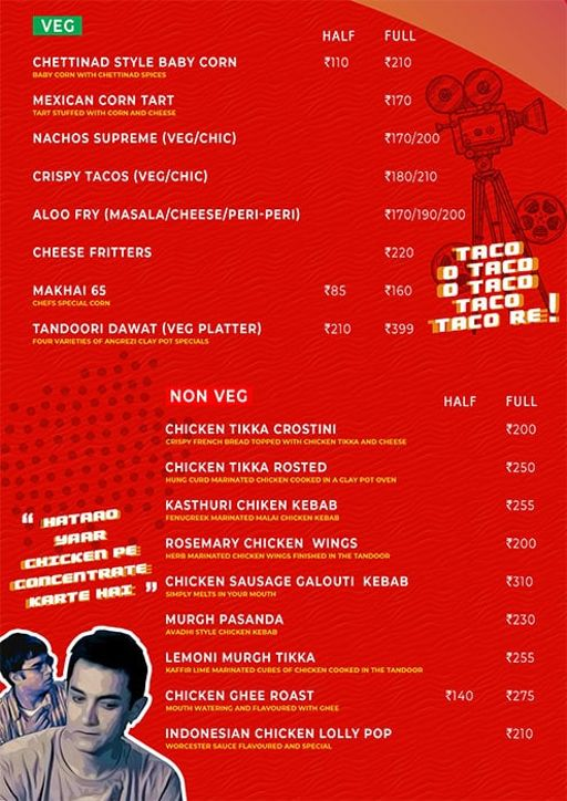 Menu 7 - Angrezi - Bollywood Bar & Kitchen, Church Street, Bangalore