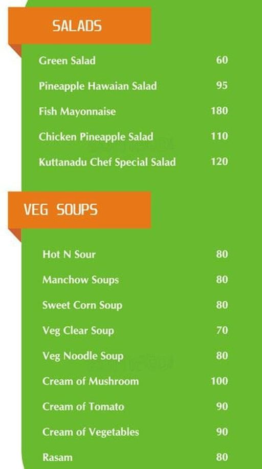 Food Menu 1 of Kuttanadu, HSR, Bangalore