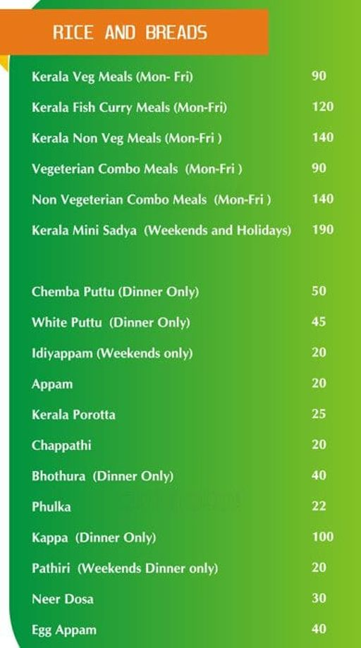 Food Menu 8 of Kuttanadu, HSR, Bangalore