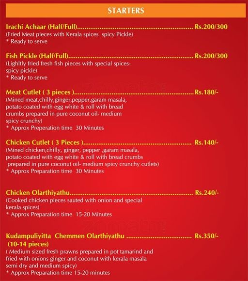 Food Menu 10 of Kuttanadu, HSR, Bangalore