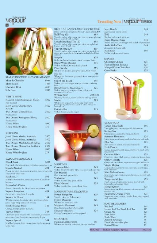 Menu 4 - Vapour Pub and Brewery, Indiranagar, Bangalore