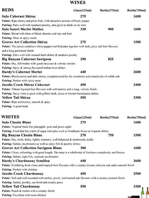 Bar Menu 1 of Peacock, Indiranagar, Bangalore