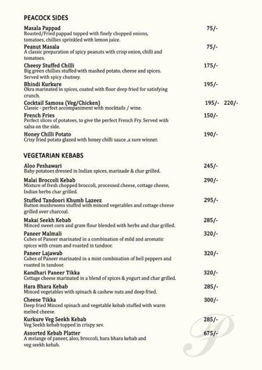 Food Menu 4 of Peacock, Indiranagar, Bangalore