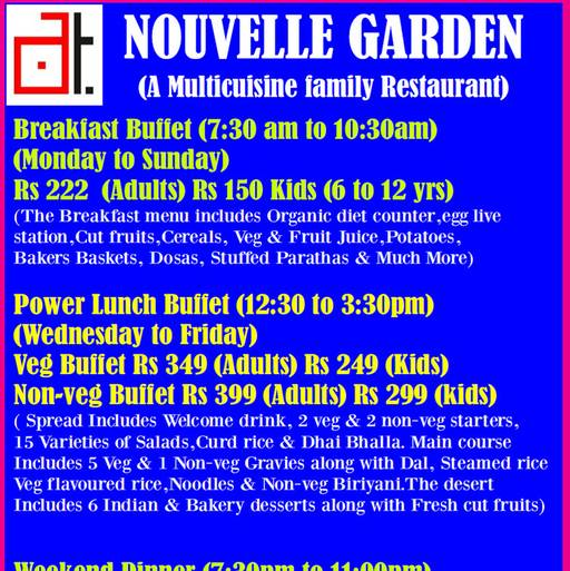 Food Menu 1 of Nouvelle Garden, JP Nagar, Bangalore