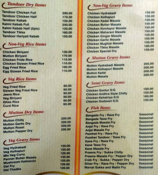 Menu 2 - South Spicy Bites, Basaveshwara Nagar, Bangalore