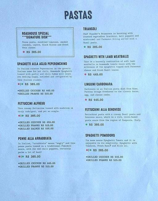 Menu 2 - Roadhouse Cafe, Greater Kailash (GK) 1, New Delhi