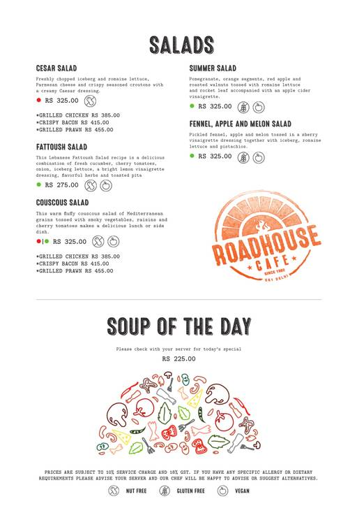 Menu 28 - Roadhouse Cafe, Greater Kailash (GK) 1, New Delhi