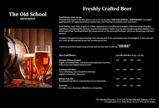 Menu 1 - The Old School Brew House, Sector 29, Gurgaon