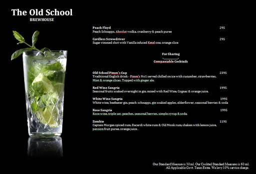 Menu 9 - The Old School Brew House, Sector 29, Gurgaon