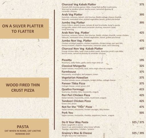 Menu 11 - The Old School Brew House, Sector 29, Gurgaon