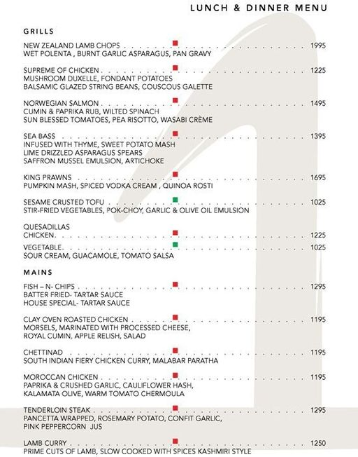 Menu 2 - The One - Le Meridien, Connaught Place (CP), New Delhi