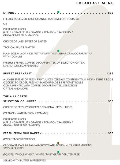 Menu 1 - The One - Le Meridien, Connaught Place (CP), New Delhi
