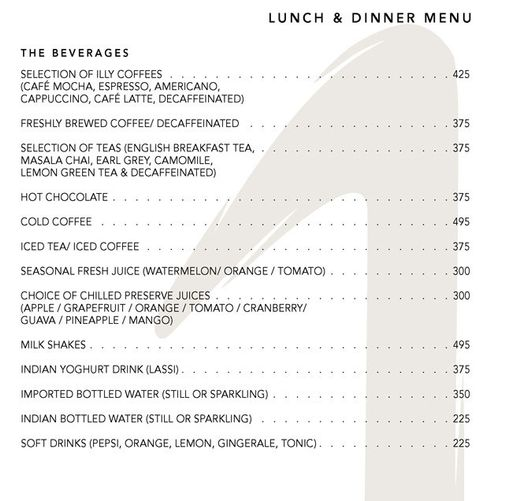 Menu 9 - The One - Le Meridien, Connaught Place (CP), New Delhi