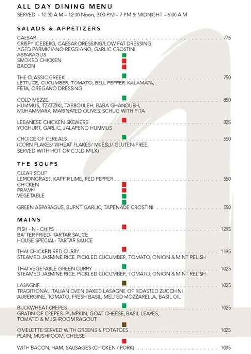Menu 10 - The One - Le Meridien, Connaught Place (CP), New Delhi