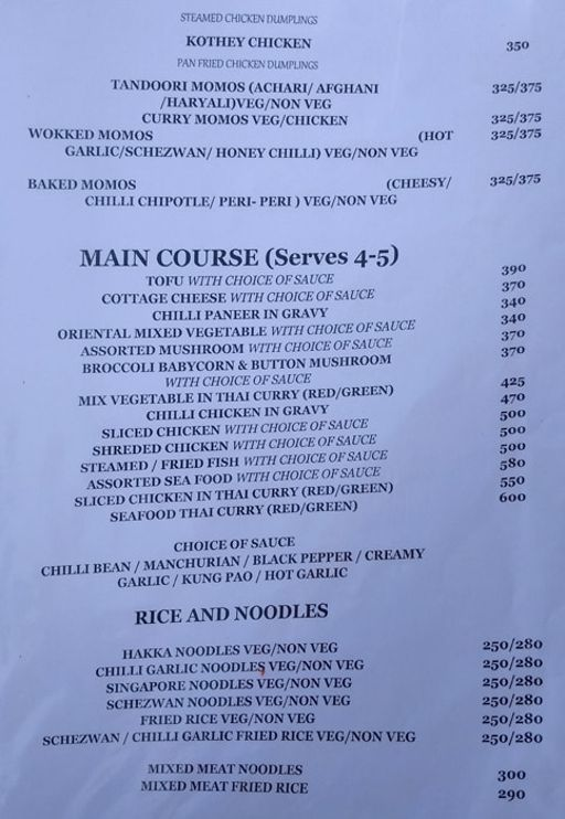 Menu 6 - Monster's Cafe, DLF Phase 4, Gurgaon