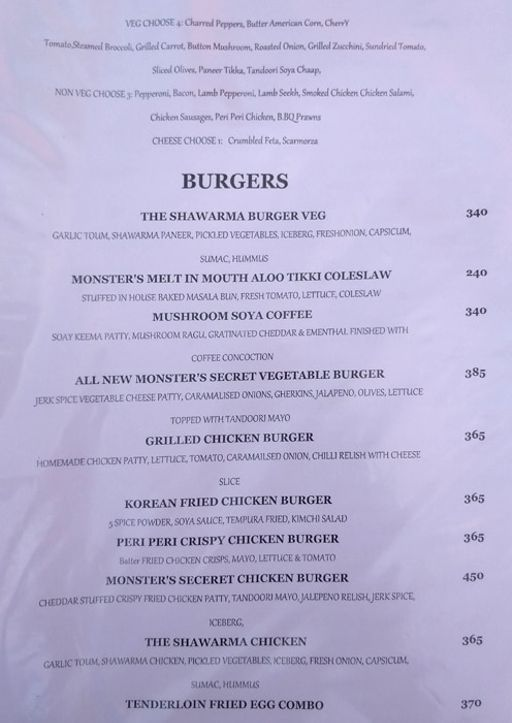 Menu 7 - Monster's Cafe, DLF Phase 4, Gurgaon