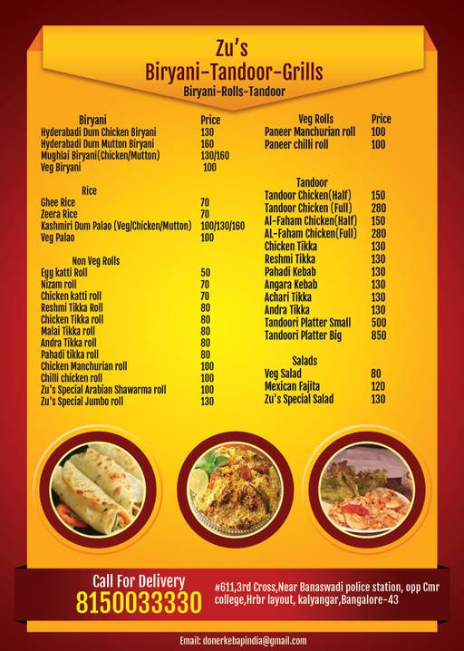 Food Menu 1 of Zu's Doner Kebaps, HBR Layout, Bangalore