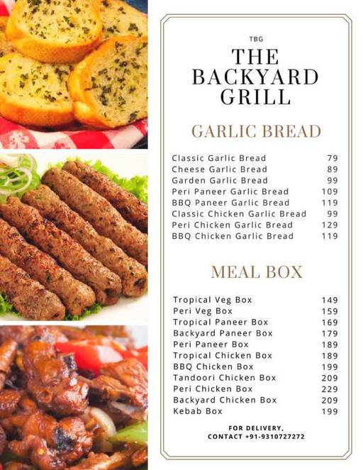 Food Menu 1 Of Backyard Grill, BBQ Cafe, Sector 28, ...