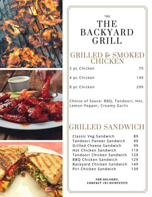 ... Faridabad Menu 4   Backyard Grill, BBQ Cafe, Sector 28, ...