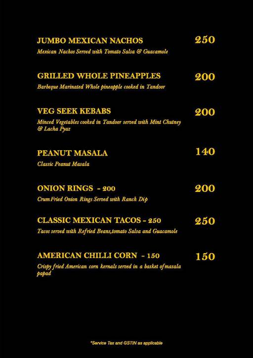 Menu 2 - Straight Up, Fuso Hotels Llp, Thanisandra, Bangalore