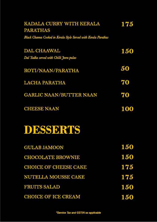 Menu 9 - Straight Up, Fuso Hotels Llp, Thanisandra, Bangalore