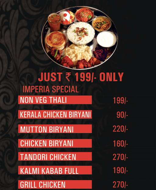 Menu 1 - Imperia Restaurant, Whitefield, Bangalore