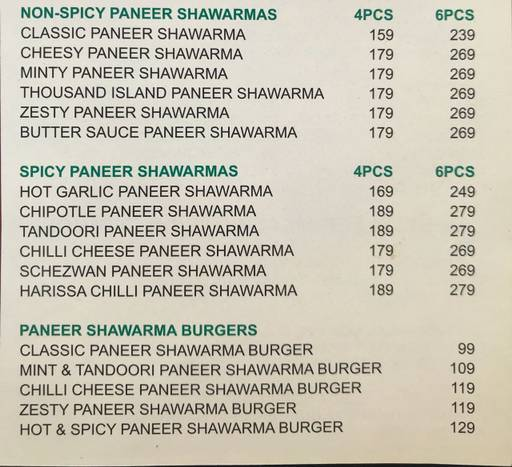 Food Menu 2 of B Shed Cafe by Kennedy's, DLF Phase 3, Gurgaon