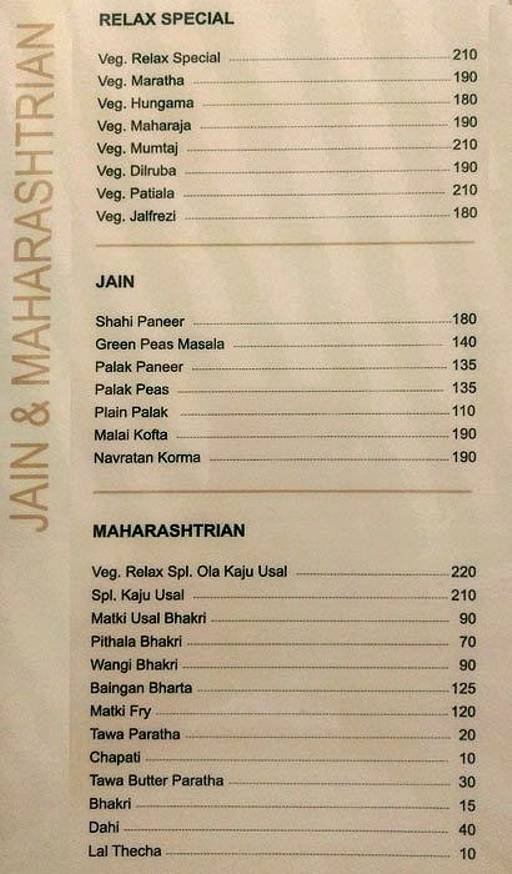 Food Menu 6 of Relax Pure Veg, Parvathi, Pune
