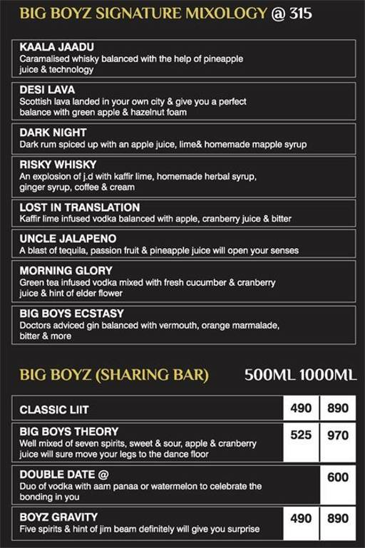 Menu 16 - Big Boyz Lounge, Sector 29, Gurgaon