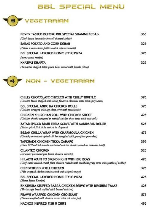 Menu 2 - Big Boyz Lounge, Sector 29, Gurgaon