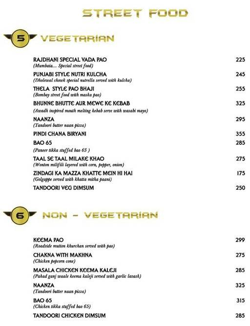 Menu 3 - Big Boyz Lounge, Sector 29, Gurgaon