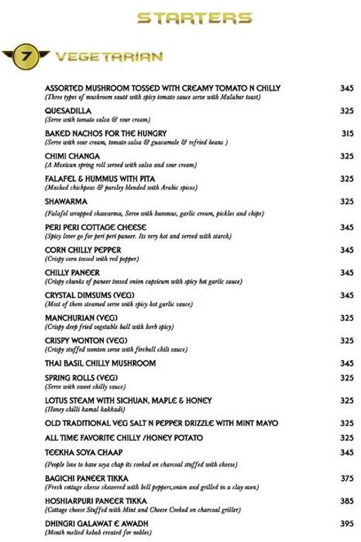 Menu 4 - Big Boyz Lounge, Sector 29, Gurgaon