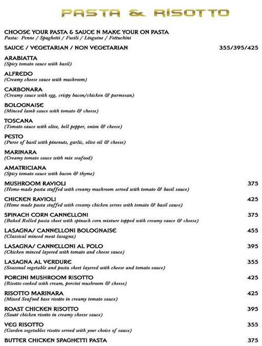 Menu 9 - Big Boyz Lounge, Sector 29, Gurgaon