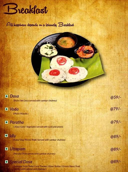 Cafe Azzure Menu