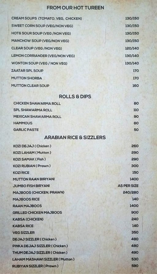 Food Menu 1 of Zaatar, KR Puram, Bangalore