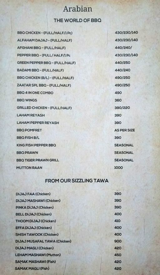 Food Menu 2 of Zaatar, KR Puram, Bangalore