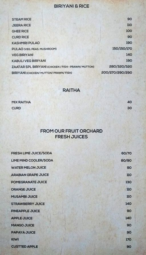 Food Menu 9 of Zaatar, KR Puram, Bangalore