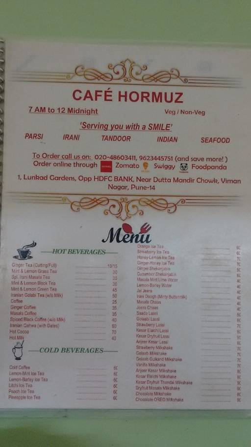 Food Menu 1 of Cafe Hormuz, Viman Nagar, Pune