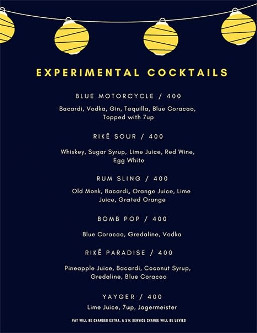 Bar Menu 8 of Rike- Terrace Bar & Grill, Lokhandwala Complex, Andheri West, Mumbai