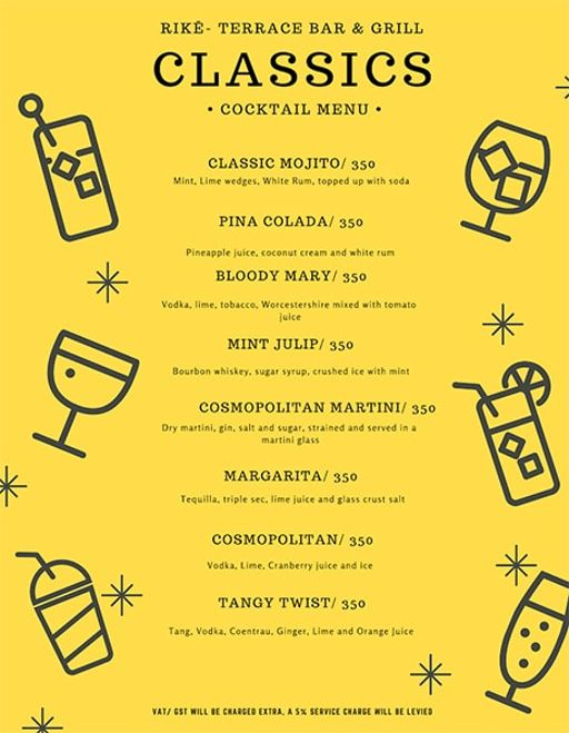 Bar Menu 9 of Rike- Terrace Bar & Grill, Lokhandwala Complex, Andheri West, Mumbai