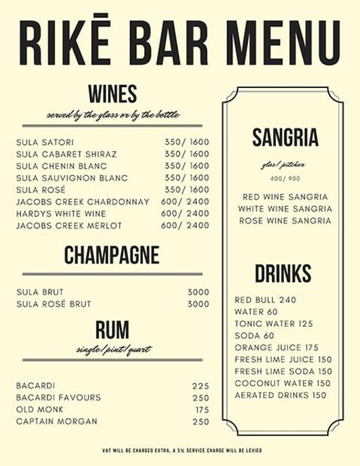 Bar Menu 11 of Rike- Terrace Bar & Grill, Lokhandwala Complex, Andheri West, Mumbai