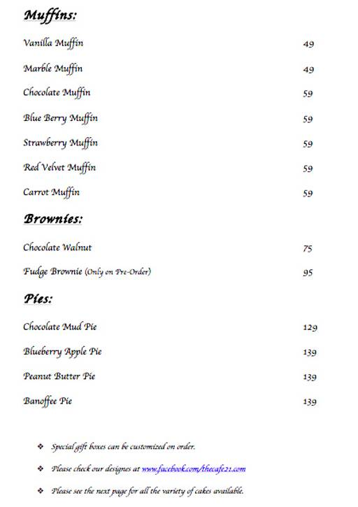 Menu 14 - Cafe 21, Preet Vihar, New Delhi
