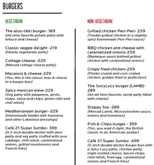 Menu 3 - Cafe 21, Preet Vihar, New Delhi